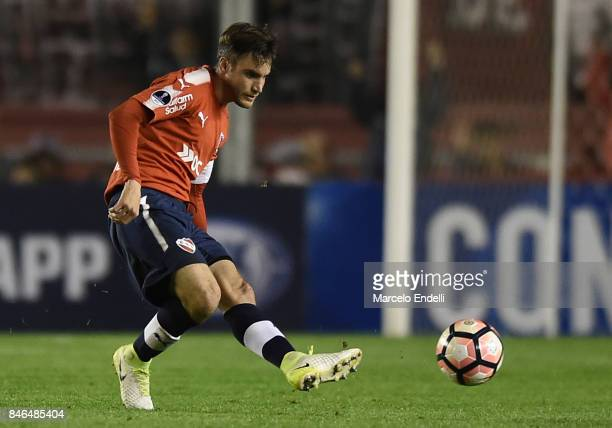 Nicolas Tagliafico of Independiente kicks the ball during a second leg match between Independiente and Atletico Tucuman as part of round of 16 of...