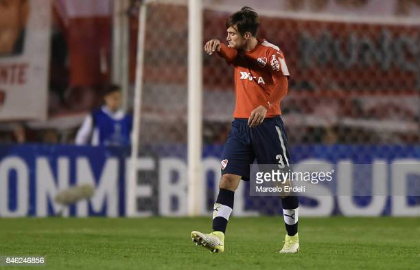 Nicolas Tagliafico of Independiente leaves the field after being sent off during a second leg match between Independiente and Atletico Tucuman as...