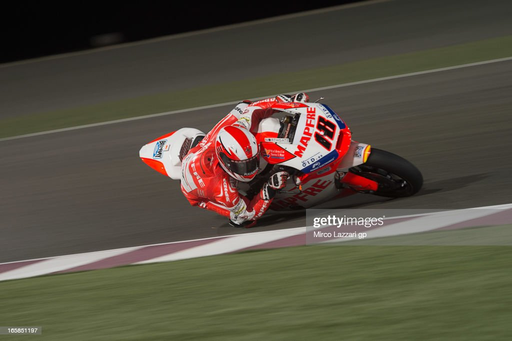 Nicolas Terol of Spain and Aspar Team Moto2 rounds the bend during the MotoGp of Qatar - Qualifying at Losail Circuit on April 6, 2013 in Doha, Qatar.