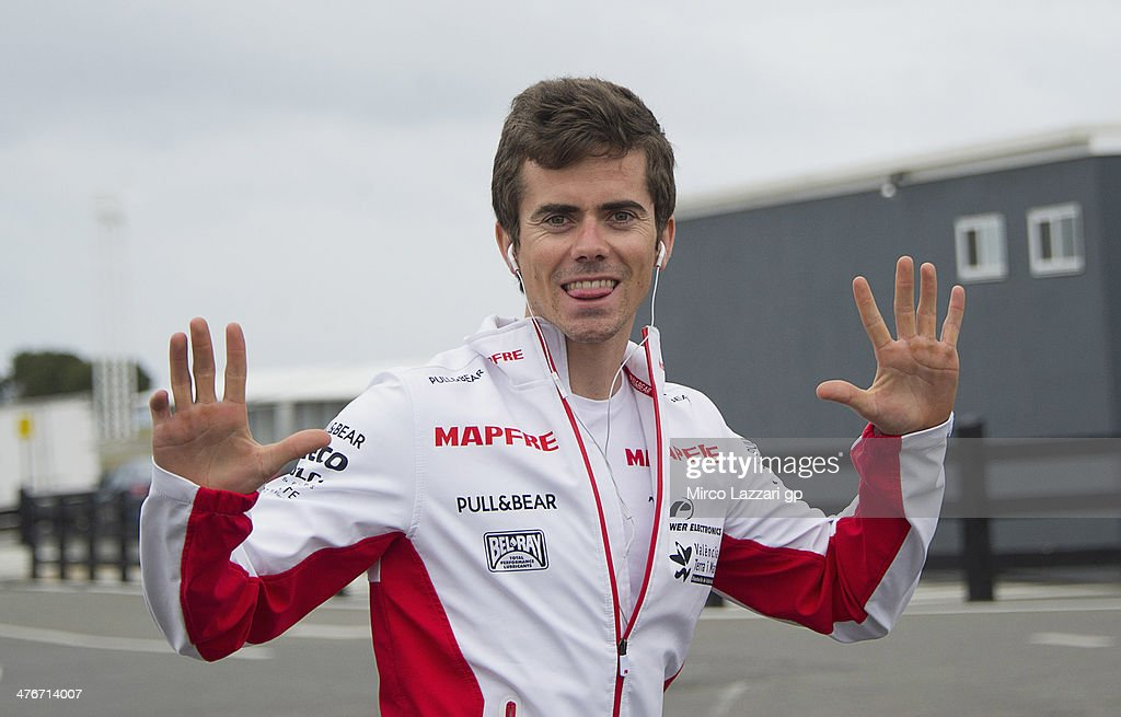 <a gi-track='captionPersonalityLinkClicked' href=/galleries/search?phrase=Nicolas+Terol&family=editorial&specificpeople=2298412 ng-click='$event.stopPropagation()'>Nicolas Terol</a> of Spain and Mapfre Aspar Team Moto2 greets in paddock during the MotoGP Tests in Phillip Island - Day Three at Phillip Island Grand Prix Circuit on March 5, 2014 in Phillip Island, Australia.