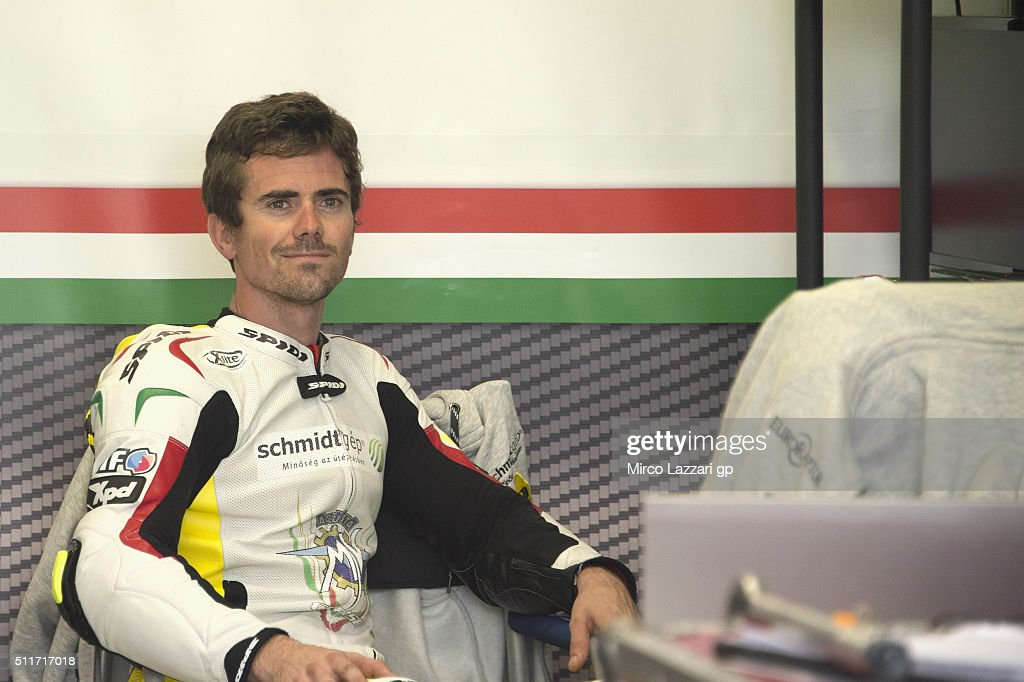 <a gi-track='captionPersonalityLinkClicked' href=/galleries/search?phrase=Nicolas+Terol&family=editorial&specificpeople=2298412 ng-click='$event.stopPropagation()'>Nicolas Terol</a> of Spain and Schmidt Racing smiles in box during the 2015 World Superbikes Tests In Phillip Island at Phillip Island Grand Prix Circuit on February 22, 2016 in Phillip Island, Australia.
