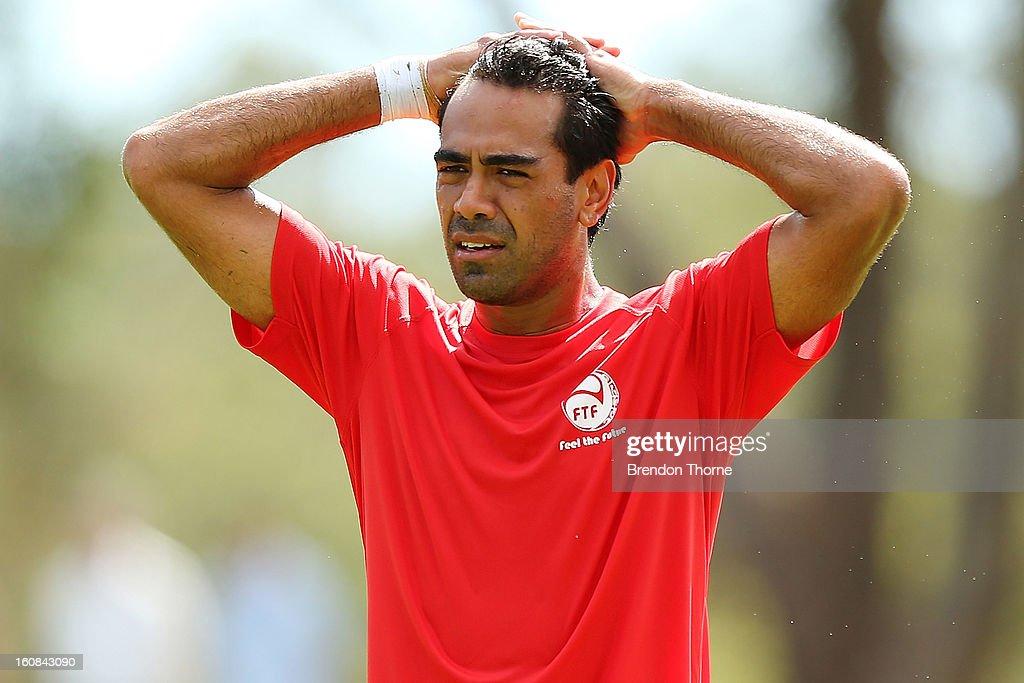 Nicolas Vallar of Tahiti looks on during the friendly match between Sydney FC and Tahiti at Macquarie Uni on February 6, 2013 in Sydney, Australia.