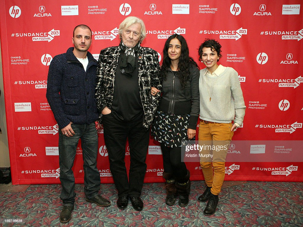 Nicolas Vaporidis, <a gi-track='captionPersonalityLinkClicked' href=/galleries/search?phrase=Rutger+Hauer&family=editorial&specificpeople=228478 ng-click='$event.stopPropagation()'>Rutger Hauer</a>, Alicia Scherson, and Manuela Martelli attend 'The Future' premiere at Prospector Square during the 2013 Sundance Film Festival on January 19, 2013 in Park City, Utah.
