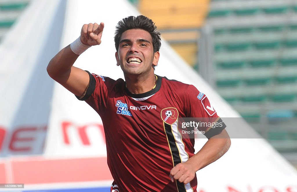 Nicolas Viola of Reggina celebrates after scoring his first goal during the Serie B match between Calcio Padova and Reggina Calcio at Stadio Euganeo on September 22, 2012 in Padova, Italy.