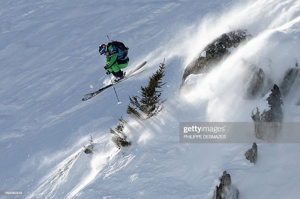 Nicolas Vuignier of Switzerland jumps on the wild face of 'l'Aiguille Pourrie' during the French stage of the Freeride World Tour (FWT) on January 26, 2013 in Chamonix, French Alps.