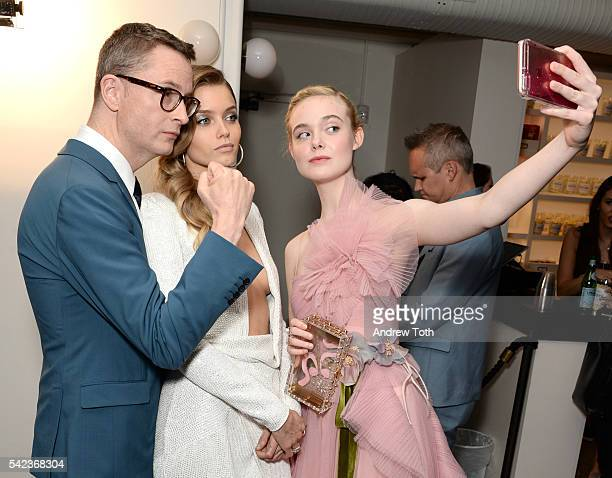 Nicolas Winding Refn Abbey Lee Elle Fanning attend the 'The Neon Demon' New York premiere at Metrograph on June 22 2016 in New York City