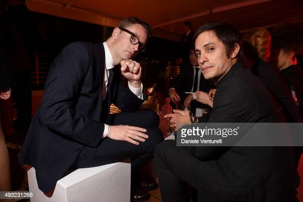 Nicolas Winding Refn and Gael García Bernal attend the Moncler The After Party To Benefit amfAR at Hotel du CapEdenRoc on May 22 2014 in Cap...