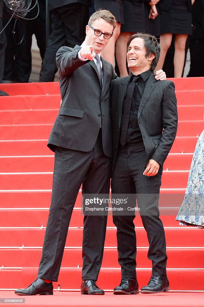Nicolas Winding Refn and Gael Garcia Bernal at the red carpet for the Palme D'Or winners during 67th Cannes Film Festival