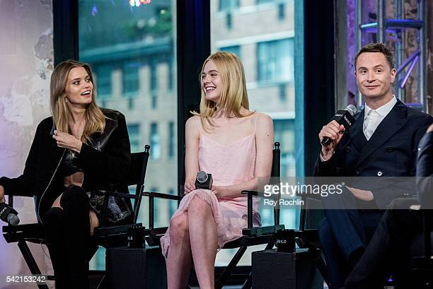 Nicolas Winding Refn Elle Fanning and Abbey Lee discuss 'The Neon Demon' with AOL Build at AOL Studios In New York on June 22 2016 in New York City