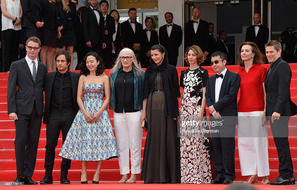 Nicolas Winding Refn, Gael Garcia Bernal, Do-yeon Jeon, Jane Campion, Leila Hatami, Sofia Coppola, Zhangke Jia, Carole Bouquet and Willem Dafoe attend the red carpet for the Palme D'Or winners at the 67th Annual Cannes Film Festival on May 25, 2014 in Cannes, France.