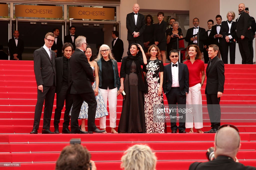 Nicolas Winding Refn, Gael Garcia Bernal, Thierry Fremaux, Do-yeon Jeon, Jane Campion, Leila Hatami, Sofia Coppola, Zhangke Jia, Carole Bouquet and Willem Dafoe attend the red carpet for the Palme D'Or winners at the 67th Annual Cannes Film Festival on May 25, 2014 in Cannes, France.
