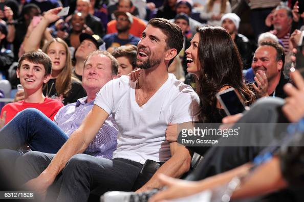 Nicole and Michael Phelps attends the game between the Cleveland Cavaliers and the Phoenix Suns on January 8 2017 at Talking Stick Resort Arena in...