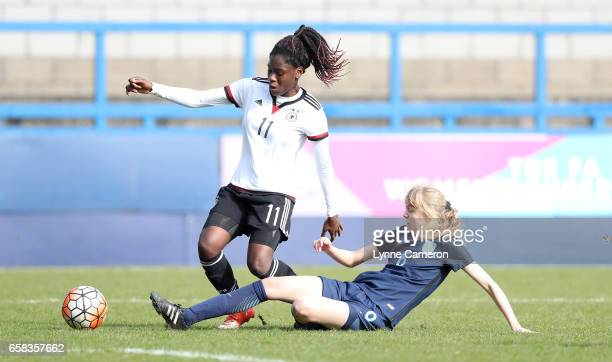 Nicole Anyomi of Germany and Esme Beth Morgan of England during the England v Germany U17 Girl's Elite Round match on March 27 2017 in Telford England