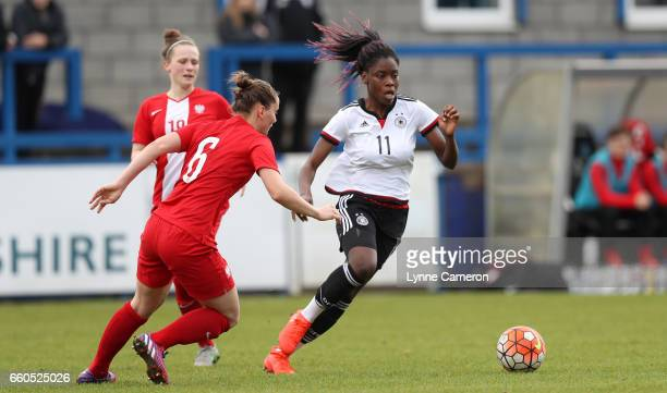 Nicole Anyomi of Germany and Marta Olejarczyk of Poland during the UEFA U17 Women's Championship Qualifier match between Germany and Poland at New...