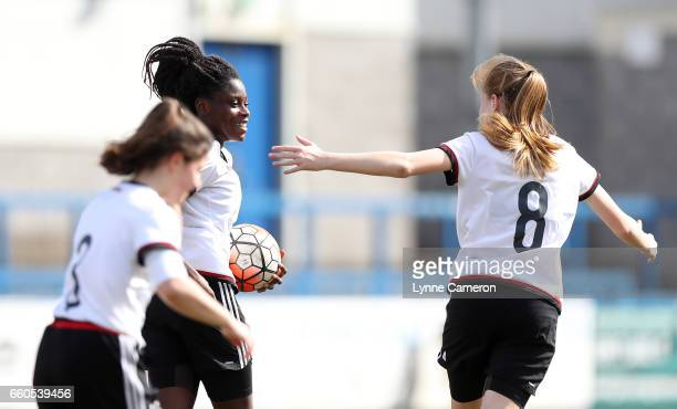 Nicole Anyomi of Germany celebrates scoring during the UEFA U17 Women's Championship Qualifier match between Germany and Poland at New Bucks Head...