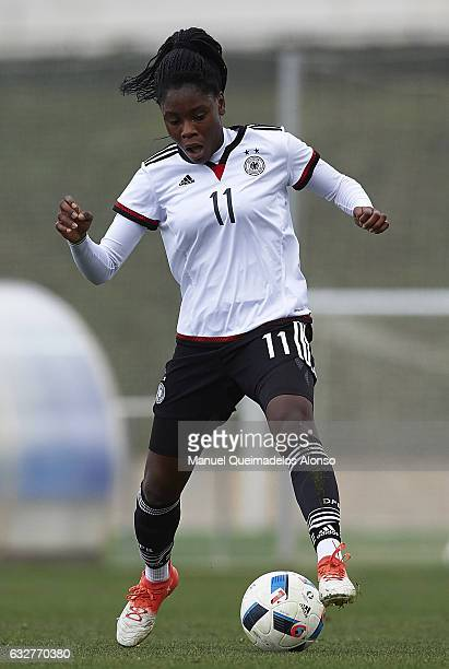 Nicole Anyomi of Germany controls the ball during the international friendly match between U17 Girl's Germany and U17 Girl's France at Complex...