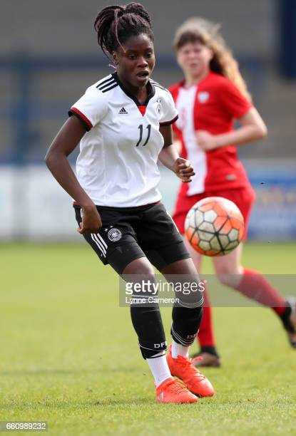 Nicole Anyomi of Germany during the UEFA U17 Women's Championship Qualifier match between Germany and Poland at New Bucks Head stadium on March 30...