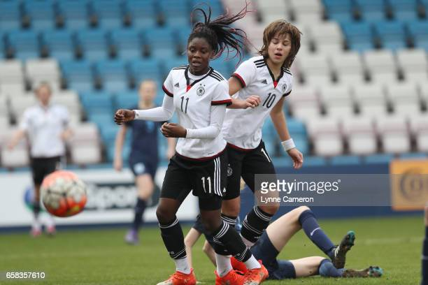Nicole Anyomi of Germany has a shot saved during the England v Germany U17 Girl's Elite Round match on March 27 2017 in Telford England