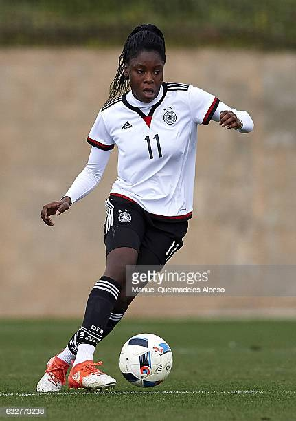 Nicole Anyomi of Germany in action during the international friendly match between U17 Girl's Germany and U17 Girl's France at Complex Esportiu...