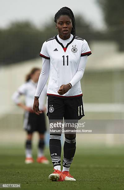Nicole Anyomi of Germany looks on during the international friendly match between U17 Girl's Germany and U17 Girl's France at Complex Esportiu Futbol...