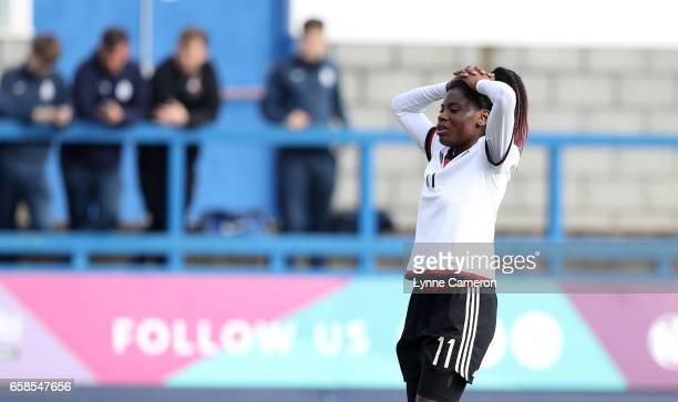 Nicole Anyomi of Germany reacts during the England v Germany U17 Girl's Elite Round match on March 27 2017 in Telford England