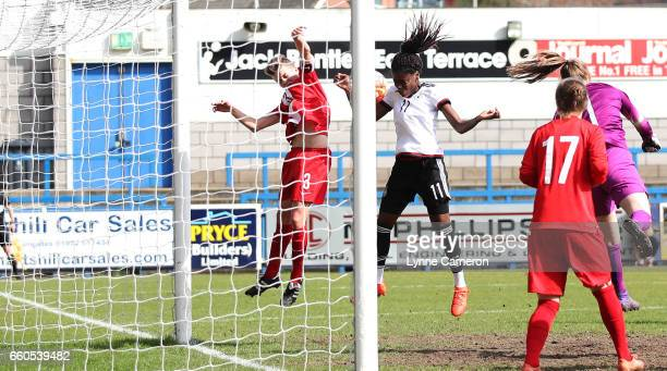 Nicole Anyomi of Germany scoring during the UEFA U17 Women's Championship Qualifier match between Germany and Poland at New Bucks Head stadium on...