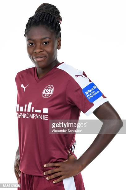 Nicole Anyomi of SGS Essen poses during the Allianz Frauen Bundesliga Club Tour at Stadion Essen on August 22 2017 in Essen Germany