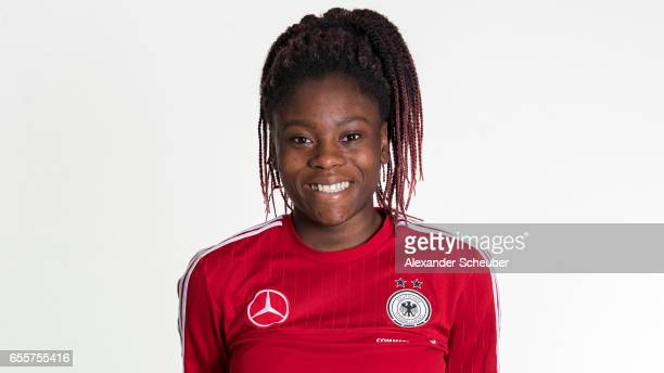 Nicole Anyomi poses during germany U17 girl's team presentation on March 20 2017 in Grunberg Germany