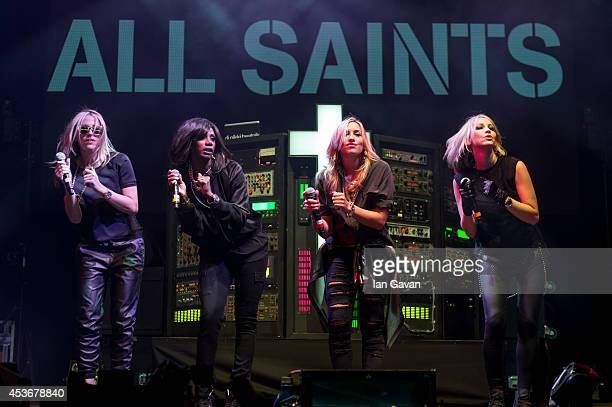 Nicole Appleton Shaznay Lewis Natalie Appleton and Melanie Blatt of All Saints perform on Day 1 of the V Festival at Hylands Park on August 16 2014...