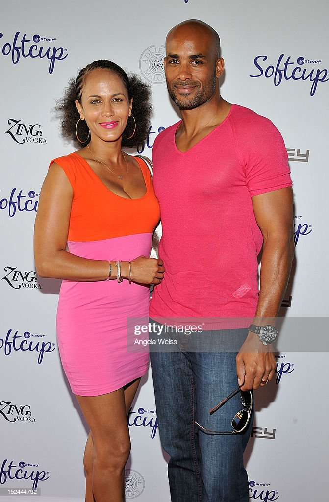 Nicole Ari Parker and Boris Kodjoe attend the Softcup Beauty Retreat with ZING Vodka Cocktails at a private residency on September 20, 2012 in Beverly Hills, California.