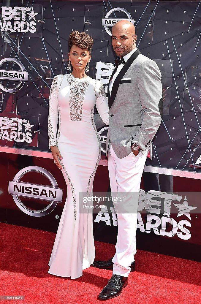 Nicole Ari Parker and Boris Kodjoe attends the 2015 BET Awards at the Microsoft Theater on June 28 2015 in Los Angeles California