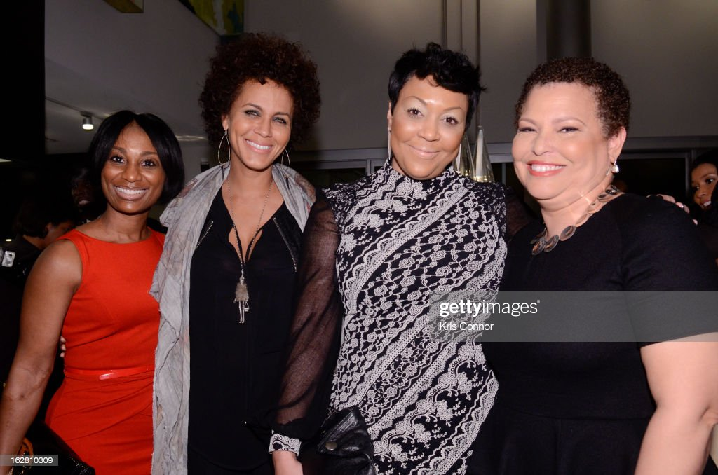 <a gi-track='captionPersonalityLinkClicked' href=/galleries/search?phrase=Nicole+Ari+Parker&family=editorial&specificpeople=884033 ng-click='$event.stopPropagation()'>Nicole Ari Parker</a> and Debra Lee pose with guests during the Leading Women Defined: First Ladies Reception on February 27, 2013 in Washington, DC.