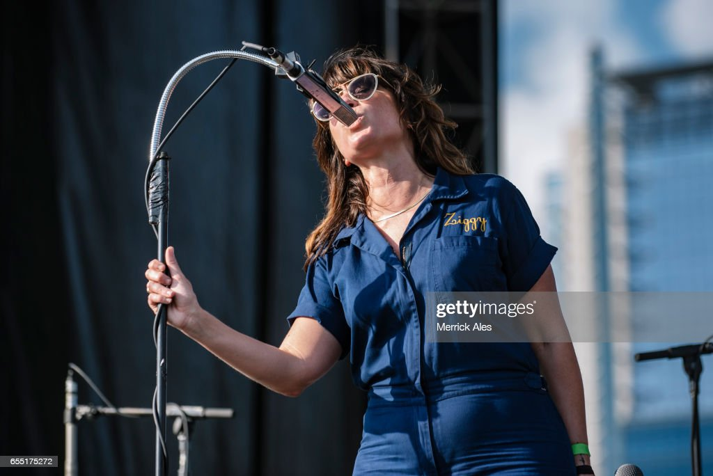 Nicole Atkins perfoms at the Outdoor Stage at Lady Bird Lake during SXSW on March 18, 2017 in Austin, Texas.