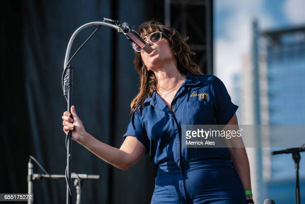 Nicole Atkins perfoms at the Outdoor Stage at Lady Bird Lake during SXSW on March 18 2017 in Austin Texas