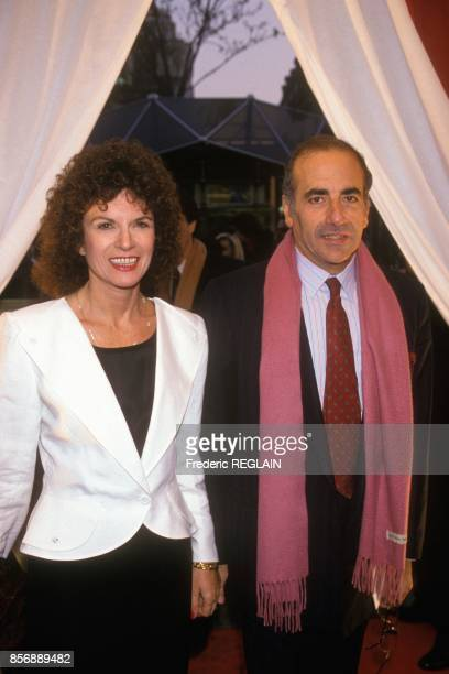 Nicole Avril and Jean Pierre Elkabbach attend the premiere of movie Cyrano de Bergerac directed by Jean Paul Rappeneau on March 27 1990 in Paris...