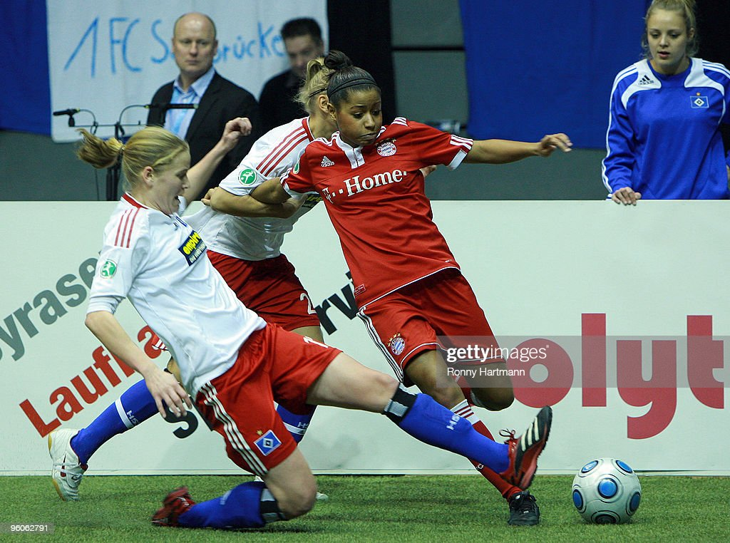 Nicole Banecki (R) of FC Bayern Muenchen in action during the T-Home DFB Indoor Cup at the Boerdelandhalle on January 23, 2010 in Magdeburg, Germany.
