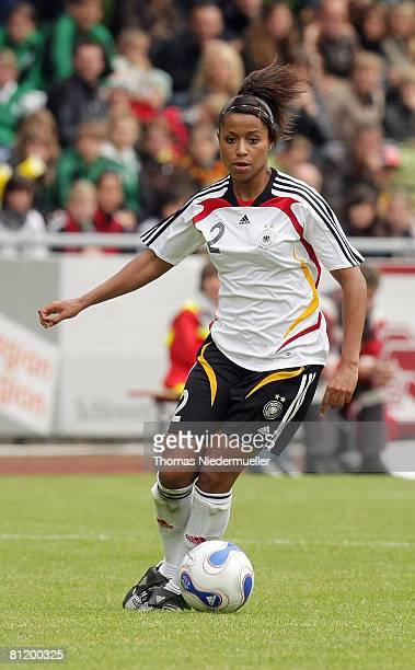 Nicole Banecki of Germany advances the ball during the U23 women's friendly match between Germany and USA at the Allgaeu Stadium on May 22 2008 in...