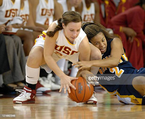 Nicole Berberet of USC and Natasha Vital of California battle for ball during Pacific10 Conference women's basketball game at the Galen Center in Los...
