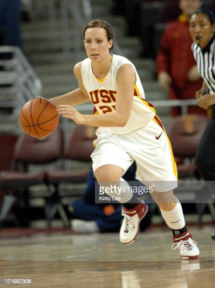 Nicole Berberet of USC dribbles up court during 6253 loss to California in Pacific10 Conference women's basketball game at the Galen Center in Los...