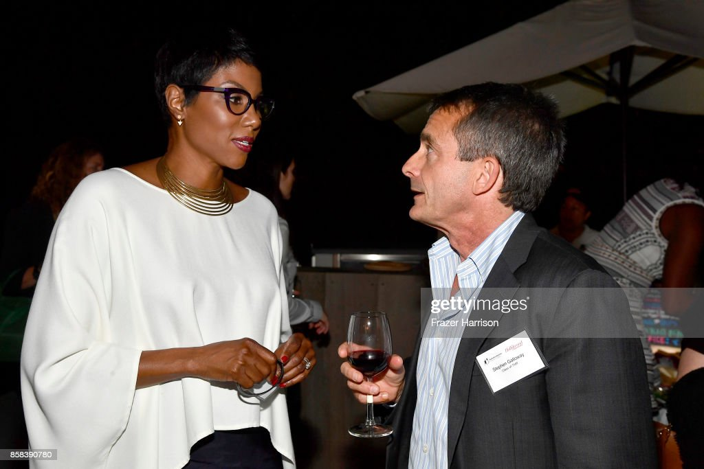 Nicole Bernard and Stepehn Galloway attend the BBBSLA And The Hollywood Reporter's Women In Entertainment Mentor Reunion Cocktail Reception at Private Residence on October 5, 2017 in Los Angeles, California.