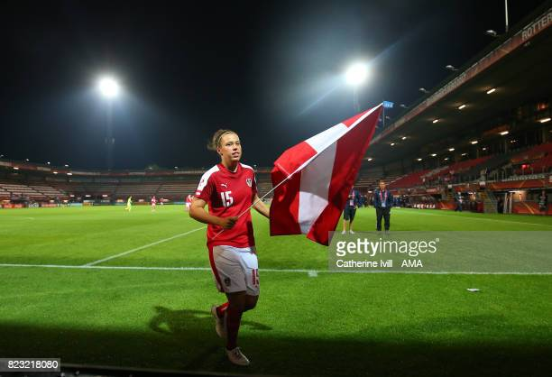 Nicole Billa of Austria Women with the national flag after the UEFA Women's Euro 2017 match between Iceland and Austria at Sparta Stadion on July 26...