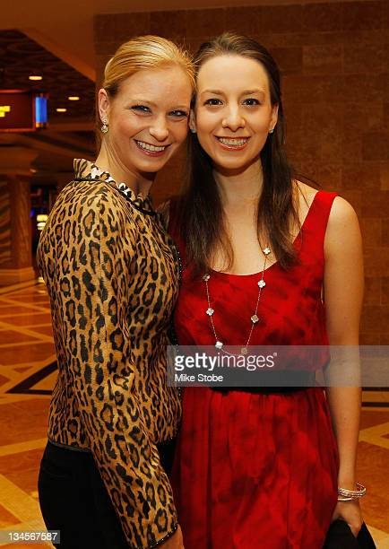 Nicole Bobek and Sarah Hughes attends the press conference for The Caesars Tribute II A Salute to the Ladies of the Ice at Caesars Hotel Casino on...