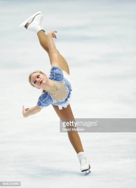 Nicole Bobek of the USA skates in the Ladies' Singles event of the figure skating competition of the 1998 Winter Olympics on February 20 1998 in...