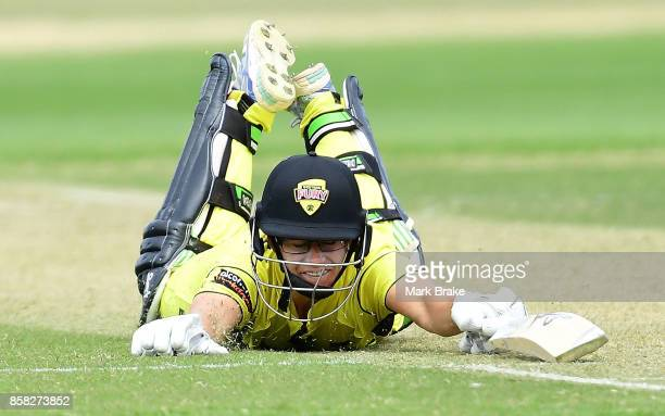 Nicole Bolton dives for the crease during the WNCL match between South Australia and Western Australia at Adelaide Oval No2 on October 6 2017 in...