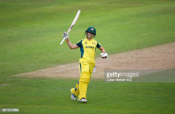 Nicole Bolton of Australia acknowledges her century during The ICC Women's World Cup 2017 match between Australia and The West Indies at The County...