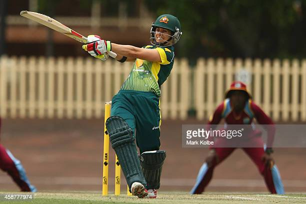 Nicole Bolton of Australia bats during game one of the women's One Day International series between Australia and the West Indies at Hurstville Oval...