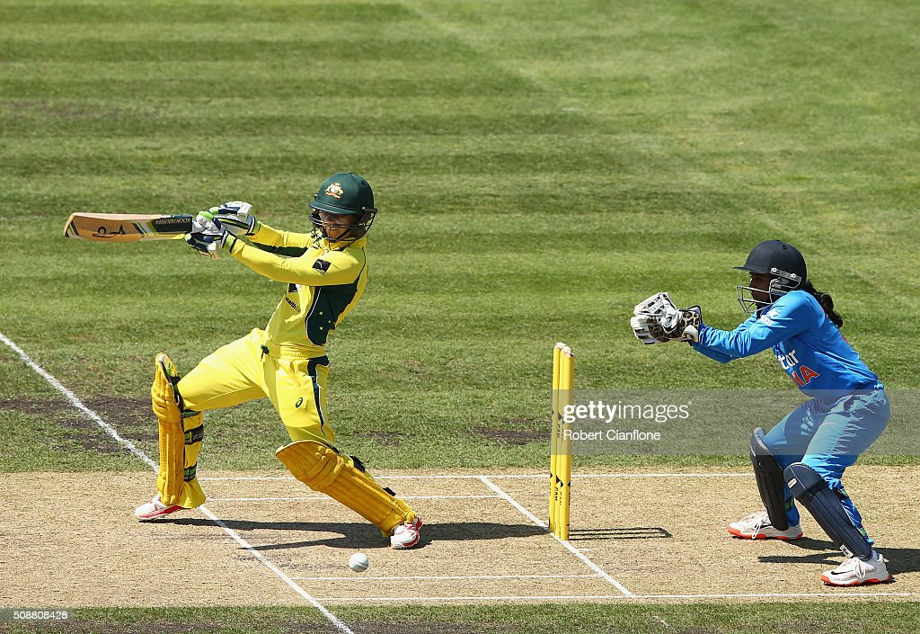 <a gi-track='captionPersonalityLinkClicked' href=/galleries/search?phrase=Nicole+Bolton&family=editorial&specificpeople=4667826 ng-click='$event.stopPropagation()'>Nicole Bolton</a> of Australia bats during game three of the one day international series between Australia and India at Blundstone Arena on February 7, 2016 in Hobart, Australia.