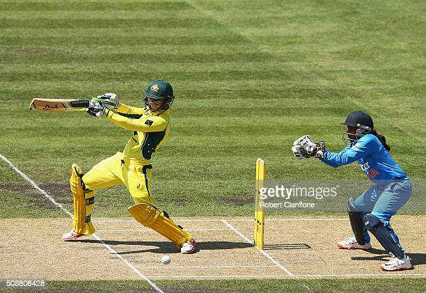 Nicole Bolton of Australia bats during game three of the one day international series between Australia and India at Blundstone Arena on February 7...