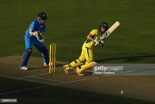 Nicole Bolton of Australia bats during game two of the women's one day international series between Australia and India at Blundstone Arena on...