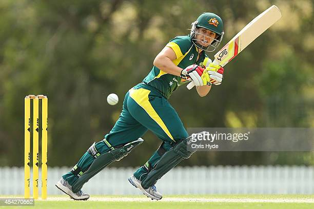 Nicole Bolton of Australia bats during the women's international series One Day match between the Australian Southern Stars and Pakistan at Redlands...